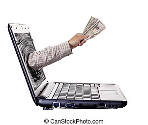 Online Banking - Getting money from laptop monitor screen -...