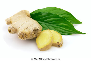 Fresh ginger with leaves