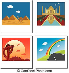 Set of four travel vector photos with Taj Mahal,egypt...