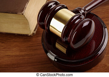 gavel - juridical concept with hammer and old lawbook,...