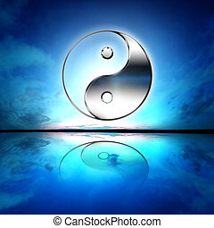 Symbol of yin and yang of the background. The sign of the...