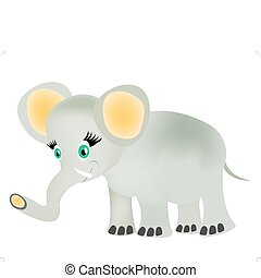 Drawing baby elephant - Small baby elephant on white...