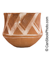 ancient ceramic bowl, hand-made on white background