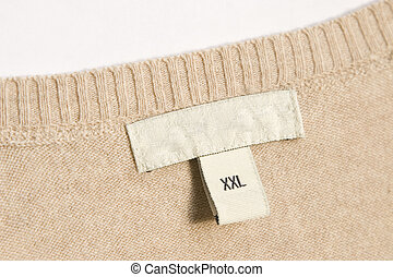 clothing label - close-up of clothing label with xxl size