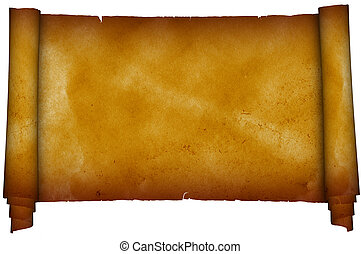 Scroll old papyrus. - Scroll antique parchment on white...