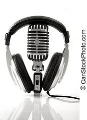 retro, microfone, &, DJ, fones