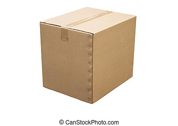 closed cardboard box - front view of closed cardboard box on...