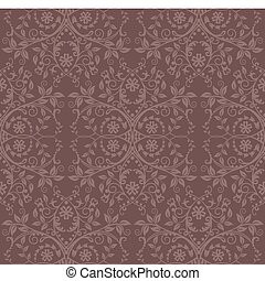 Seamless cocoa floral wallpaper. This image is a vector...