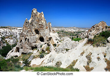 Caved rock nunnery in Goreme (Cappadocia, Turkey) - The most...