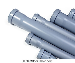 Sewer pipes  - Grey PVC sewer pipes on white background