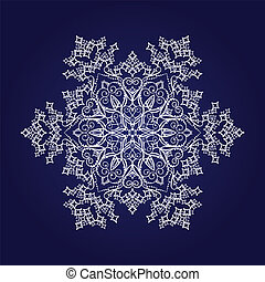 Detailed white snowflake on blue