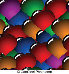Abstract background with glass multicolor hearts -...