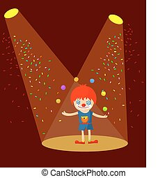 clown juggling with balls in the spotlight