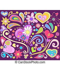 love doodle - colorful doodle with hearts and flowers