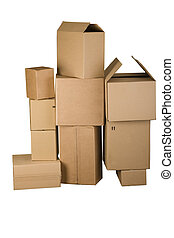 Brown different cardboard boxes arranged in stack on white...