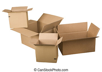 open brown cardboard boxes
