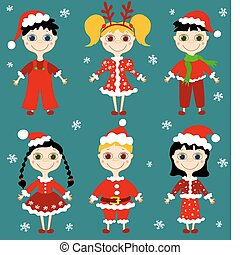 Set of six christmas children