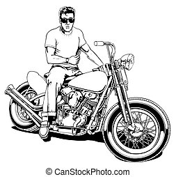 1950's Motorcycle Rider - Black Line Illustration