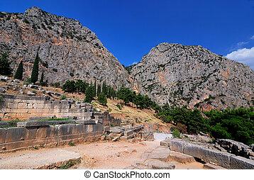 Delphi ancient site, Greece - Site of Delphi oracle, ancient...