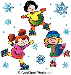 Ice-skating Happy childhood Vector art-illustration on a...