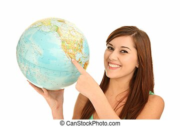 Beautiful Girl with World Globe