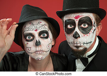 Couples with All Souls Day Make up - Couples on Day of the...