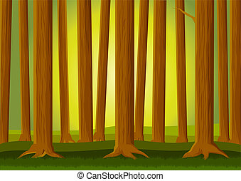 Forest background - Vector illustration of forest background