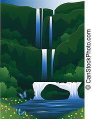 Waterall - Vector illustration of waterfall