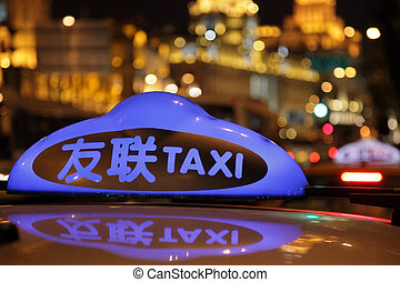 Taxi  in the city of Shanghai, China
