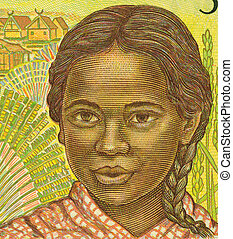 Girl from Madagascar - Girl on 500 Francs 1995 Banknote from...
