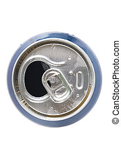 top view of open aluminum can on white background
