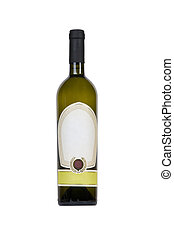 green bottle of wine with blank tag - isolated green bottle...