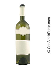 green bottle for wine with blank tag - isolated green bottle...