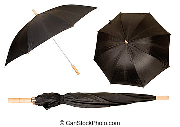 black umbrella isolated on white, protection from sun and...
