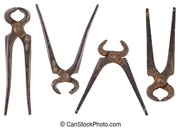 old nippers - front view of different shape of old nippers