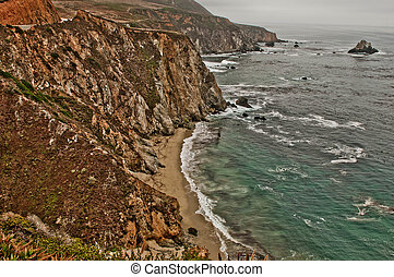 Big Sur - Waves hitting the rugged coastline in Big Sur...