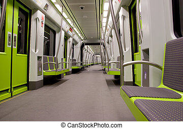 Metro Car - Inside a green empty subway car