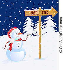 Snow man pointing to North Pole