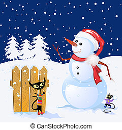 Winter background - Winter Holiday background with snowman...