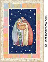 Christmas: Jesus , Joseph, Mary - Artwork made with the...