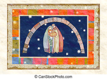 Christmas: Jesus , Joseph, Mary - Artwork made with the...