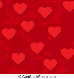 Abstract red grunge background with hearts - Valentines day...