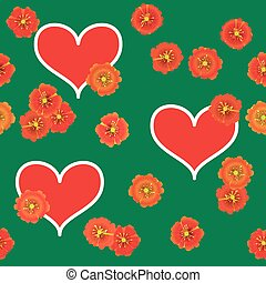 Background with red hearts and orange flowers - Valentines...