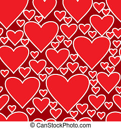 Abstract red background with hearts