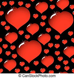 abstract elegance black background with hearts - Valentine's...