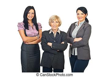 mujeres, tres, empresa / negocio, equipo