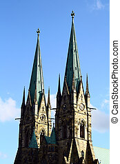 Double church towers