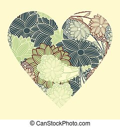 heart with flowers - vector vintage heart with flowers...