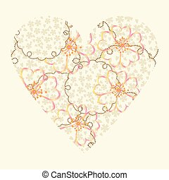 vector heart with flowers