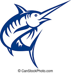 illustration of a blue marlin fish jumping isolated on white